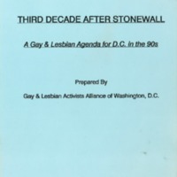 Third Decade After Stonewall:  A Gay & Lesbian Agenda for D.C. in the 90s