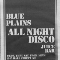 Blue Plains All Night Disco advertisement