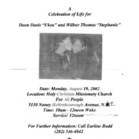 "A Celebration of Life for Deon Davis ""Ukea"" and Wilbur Thomas ""Stephanie"""