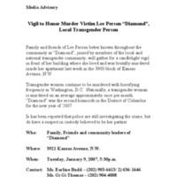 "Media Advisory : Vigil to Honor Murder Victim Lee Person ""Diamond"", Local Transgender Person"